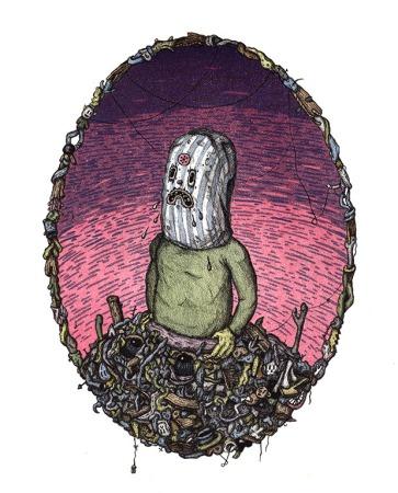 """Pile Panic, Lithograph, 2014, 11"""" x 14"""""""