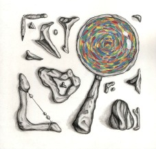"""Ancient Archaeology Tools, Graphite and Acrylic, 2014, 9"""" x 9"""""""