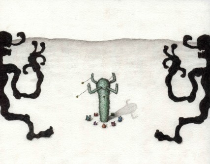 """Simultaneously Stumbling on the Secret Ceremony, Graphite and Colored Pencil, 10"""" x 8"""", 2014"""