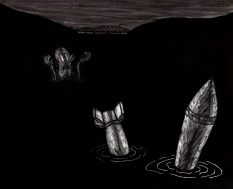 """Skinny Dipping Surprise, Lithograph, 22"""" x 30"""" 2014"""