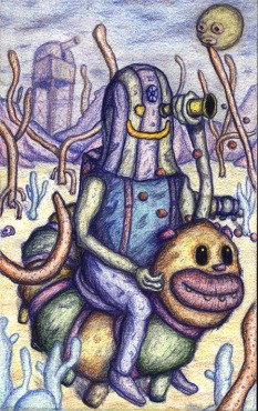 """The Hunt, Prisma-Color, 4"""" x 6"""", 2014"""
